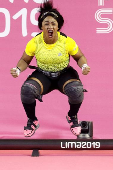 Ecuadorian Tamara Salazar leaps for joy after winning the bronze at Lima 2019