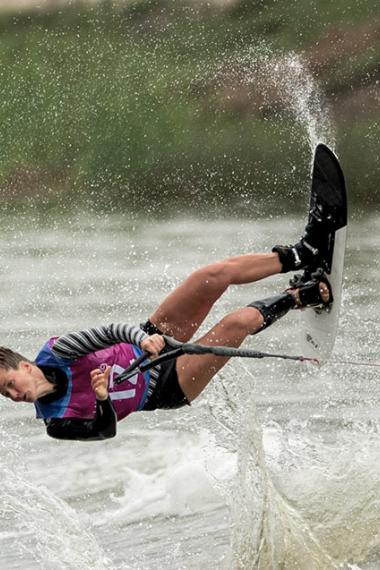 Canadian Whitney McClintock competes in the water skiing event at Laguna Bujama
