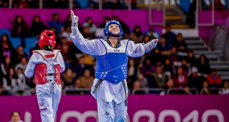 Leylianne Samara from Brazil celebrates her victory against Cuba in the women's K44 +58 kg event in Para taekwondo at the Callao Regional Sports Village