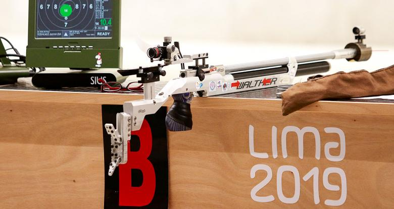 An air rifle during the shooting Para sport 10m air rifle prone SH2 competition at Las Palmas Air Base, at Lima 2019