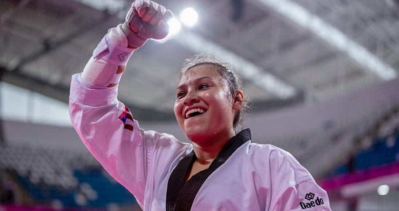 Cuba's Idalianna Quintero looks happy and full of energy during the women's K44 +58 kg bronze-medal event in Para taekwondo at the Callao Regional Sports Village.