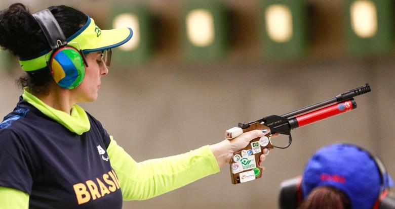 Brazilian Debora Rodriguez competes in shooting Para sport 10m air pistol SH1 at Las Palmas Air Base, at Lima 2019