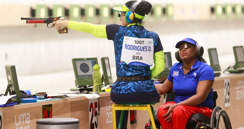 Brazilian Debora Rodrigues takes aim with her air pistol in the shooting Para sport 10m air pistol SH1 competition at Las Palmas Air Base, at Lima 2019