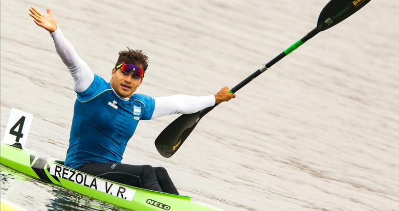 Argentinian Rubén Rezola opens his arms to celebrate third place in K1 men 200m at Albufera de Medio Mundo venue at the Lima 2019 Games