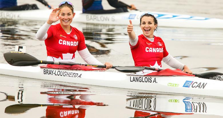 Canadian paddlers Alanna Bray-Lougheed and Andréanne Langlois greeting after winning K2 women 500m event at Lima 2019