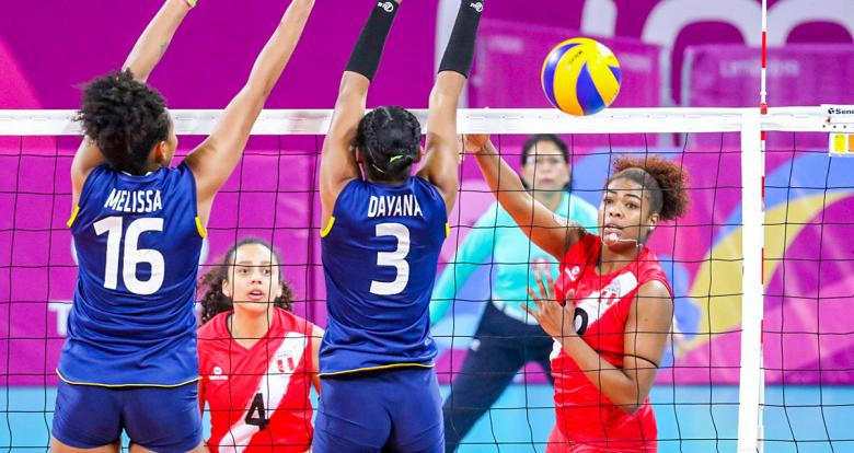 Peruvian Ángela Leyva spikes the ball at the Callao Regional Sports Village.