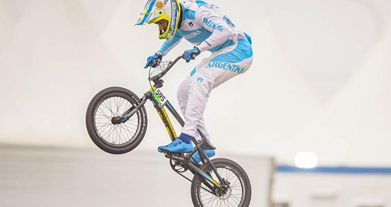 Argentinian rider Gonzalo Molina competing in Lima 2019 BMX at Costa Verde San Miguel