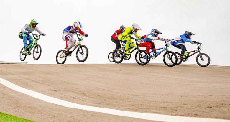 Riders competing in Lima 2019 men's BMX at Costa Verde San Miguel