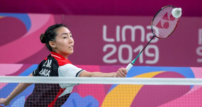 Canadian Michelle Li faces the US team in the badminton competition held at the National Sports Village – VIDENA at the Lima 2019 Pan American Games