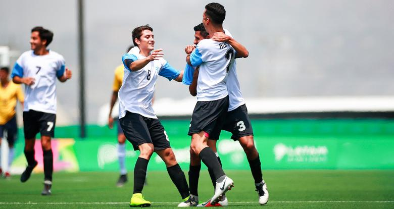 Argentinian Pablo Molina celebrates goal against Brazil in the Lima 2019 football 7-a-side final at the Villa María del Triunfo Sports Center.