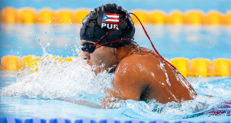 Puerto Rican Javier Hernandez during the 200m individual medley SM14 Para swimming event at Lima 2019 at the National Sports Village – VIDENA.