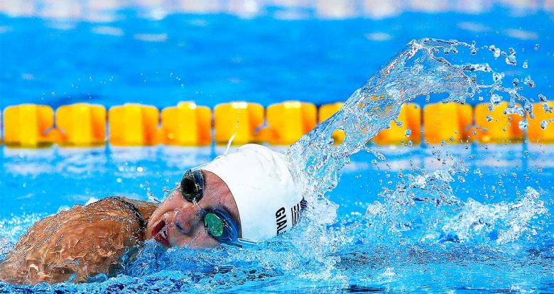 American Alyssa Gialamas competes in the women's 200m freestyle S5 Para swimming event at Lima 2019 at the National Sports Village – VIDENA.