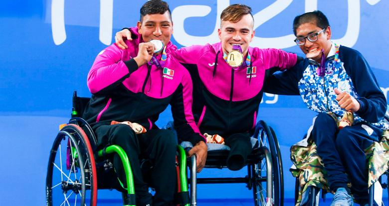 Jesus Hernandez from Mexico, Gustavo Sanchez from Mexico and Franco Gomez from Argentina, who won the silver, gold and bronze, respectively, proudly pose with their medals in men's 50m breaststroke Para swimming at Lima 2019 at the National Sports Village – VIDENA.