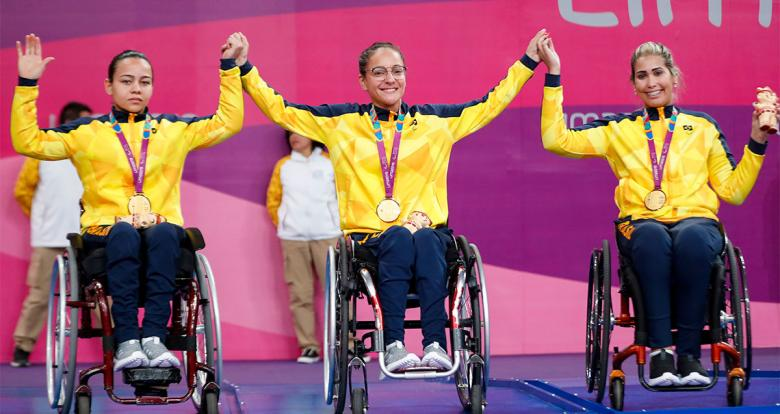 Joyce de Oliveira, Merliane Santos and Thais Severo from Brazil proudly posing with their medals in Lima 2019 team competitions, held at the National Sports Village - VIDENA