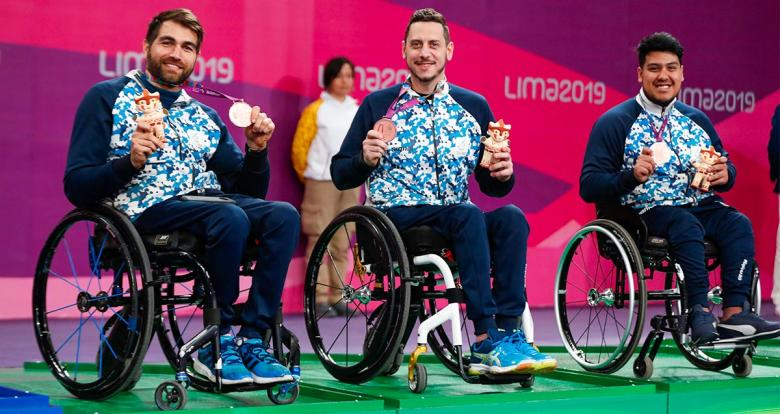 Gabriel Copola, Mauro Depergola and Elías Romero from Argentina proudly posing with their bronze medals in Lima 2019 Para table tennis team competition, held at the National Sports Village - VIDENA
