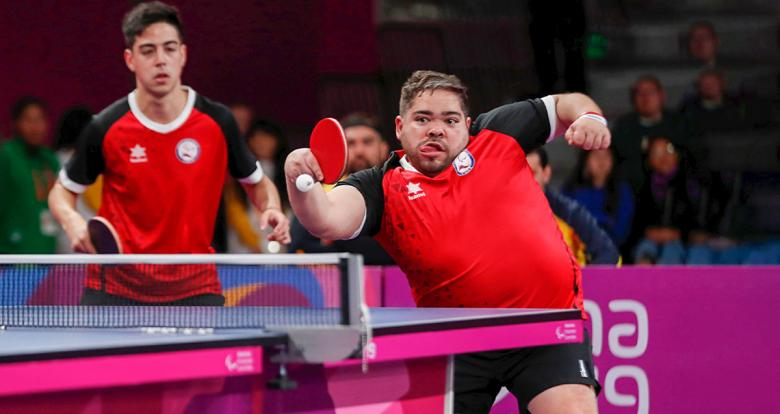 Manuel Echevaguren and Gustavo Castro from Chile during Lima 2019 Para table tennis competition at the National Sports Village - VIDENA