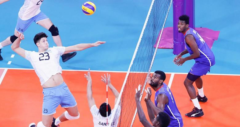 Argentinian volleyballer Joaquin Gallegos doing a spike against Cubans in the volleyball final match at Callao Regional Sports Village at Lima 2019 Games