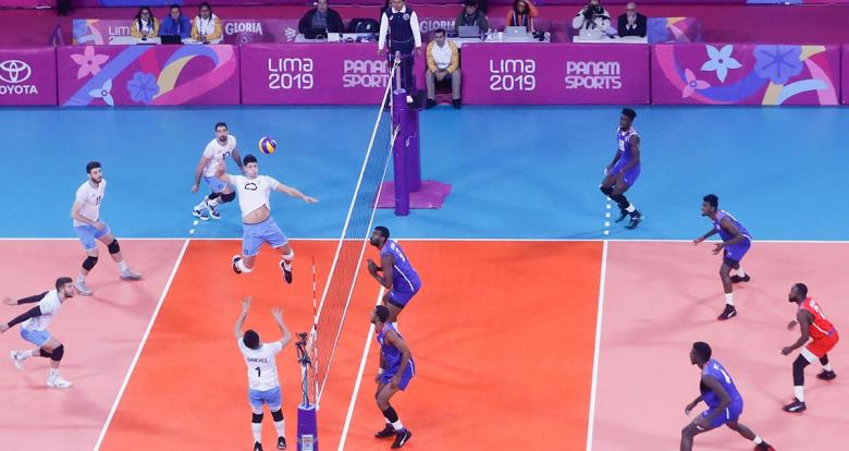 Argentinian volleyball players plays against Cuba the volleyball final match for the first place at Callao Regional Sports Village in Lima 2019 Games
