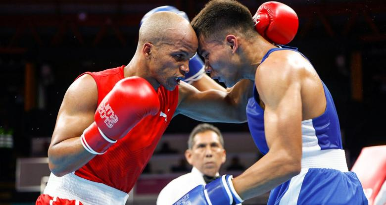 Cuban Roniel Iglesias faces off Nicaraguan Jimmy Brenes in the Lima 2019 men's welterweight (69 kg) boxing event held at the Callao Regional Sports Village.