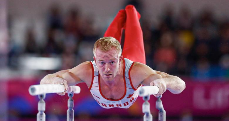 Cory Paterson from Canada in the men's artistic gymnastics competition at Lima 2019 in the Villa El Salvador Sports Center.