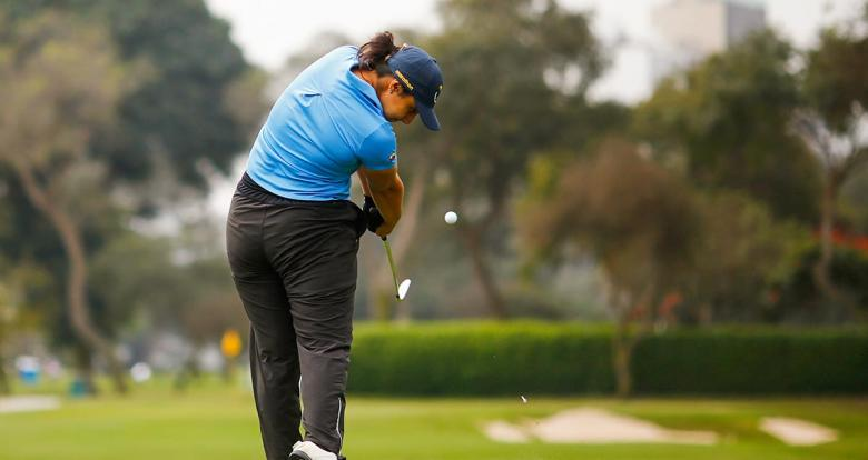 Solange Gomez from Ecuador competes in Lima 2019 golf match held at the Lima Golf Club.