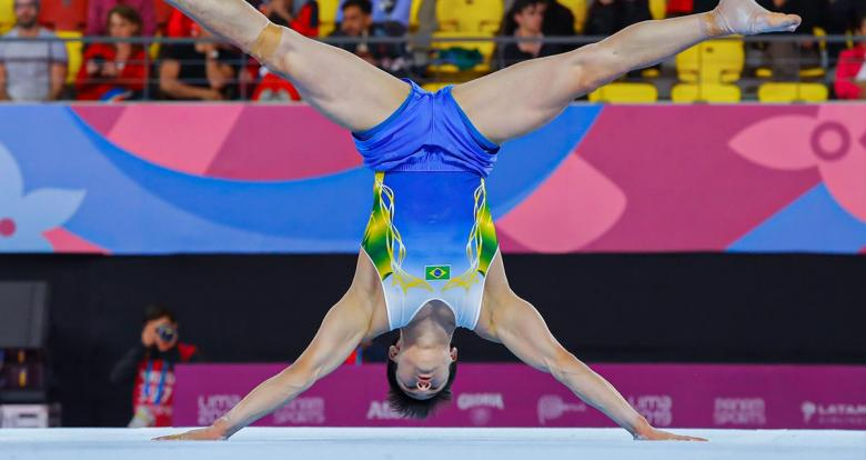Brazilian Arthur Nory Mariano competes in the men's artistic gymnastics event at Lima 2019, in the Villa El Salvador Sports Center