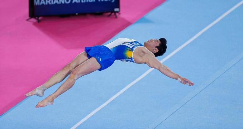 Brazilian Luis Guilherme Porto competes in the men's artistic gymnastics event at Lima 2019, in the Villa El Salvador Sports Center