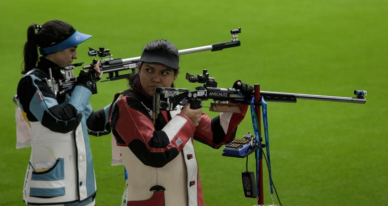 Sofia Padilla from Ecuador competed in the 50 m rifle event held at Las Palmas Air Base.