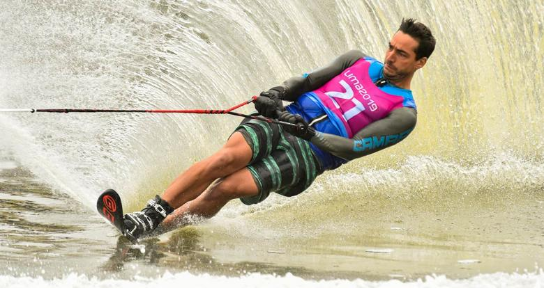 Chilean Felipe Miranda during the Lima 2019 water ski competition at Laguna Bujama.