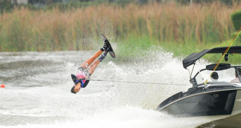 Regina Jaquess from the US shows her skills on the water during the Lima 2019 water ski competition at Laguna Bujama.