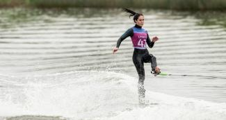Natalia Cuglievan during the Lima 2019 water skiing event at Laguna Bujama