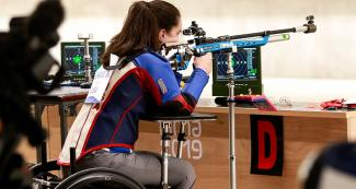 American McKenna Dahl competes in shooting Para sport 10m air rifle prone SH2 at Las Palmas Air Base, at Lima 2019