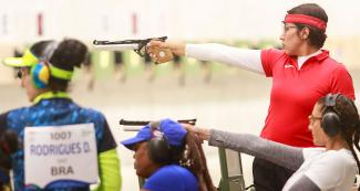 Mexican Dulce Licona competes in shooting Para sport 10m air pistol SH1 at Las Palmas Air Base, at Lima 2019