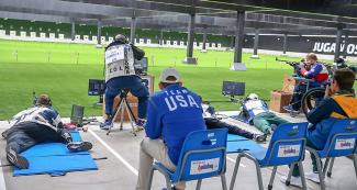 Para athletes of the Americas in shooting Para sport 50 m rifle prone competition at Lima 2019 in the Las Palmas Airbase