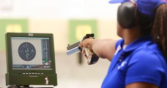 Cuban Yenigladys Suarez competes in shooting Para sport 10m air pistol SH1 at Las Palmas Air Base, at Lima 2019