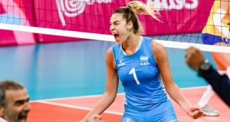 Elina Rodríguez scored ten points in the Lima 2019 volleyball match held at the Callao Regional Sports Village where Argentina won against Brazil