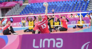 Canadian Dariusz Symonowicz in Lima 2019 sitting volleyball match against Colombia held at the Callao Regional Sports Village