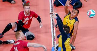Colombia and Canada face off in Lima 2019 sitting volleyball match held at the Callao Regional Sports Village