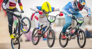 Argentinian rider Federico Villegas and Venezuelan Jefferson Milano competing at tight BMX race at Costa Verde San Miguel