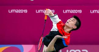 Canadian Jason Ho-Shue faces his Brazilian opponents in the badminton competition held at the National Sports Village – VIDENA at the Lima 2019 Pan American Games