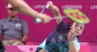Brazilian Santos Tamirez faces Canada in a badminton doubles event held at the National Sports Village – VIDENA at the Lima 2019 Pan American Games