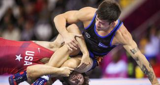 Argentinian Agustin Destribats and American Jaydin Airman during Lima 2019 freestyle wrestling competition at the Callao Regional Sports Village