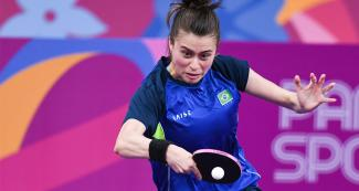 Brazilian Bruna Takahashi hitting the ball during the Lima 2019 table tennis final held at the National Sports Village – VIDENA.