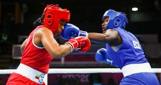 Colombian Jessica Caicedo faces off Ecuadorian Erika Pachito in the Lima 2019 women's boxing event (69 – 75 kg) at the Callao Regional Sports Village.
