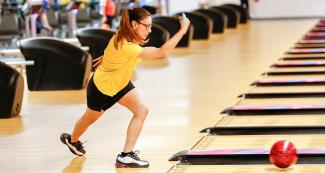 Colombian Clara Guerrero during Lima 2019 women's single bowling event held at the National Sports Village – VIDENA.